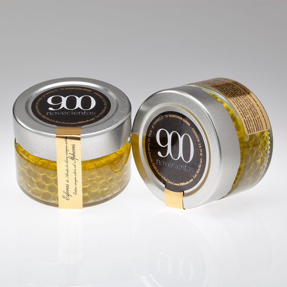 esferas de aceite de oliva, caviar de aceite de oliva virgen extra