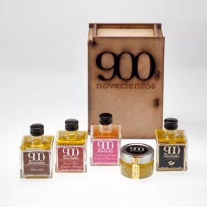 Pack AOVE 900 TOp, caviar de aceite, aceite de chocolate y jamón y vinagre de frambuesa, caja regalo aceite