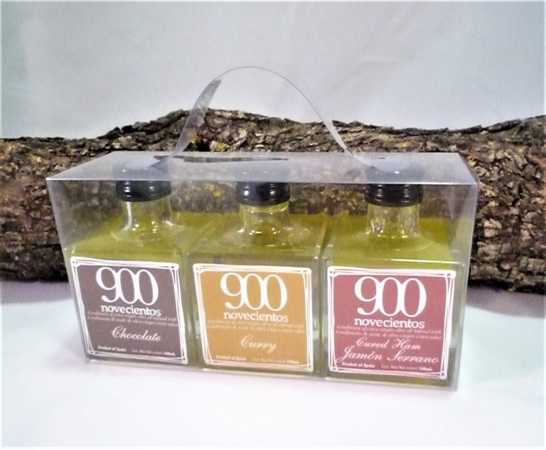 cesta regalo aceite de chocolate curry y jamón 900