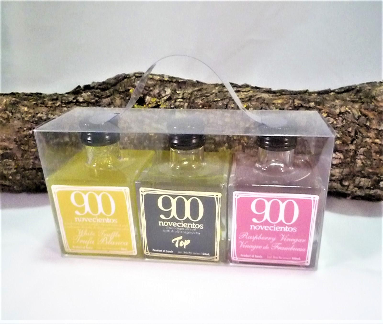 caja aceite de trufa blanca, vinagre de frambuesa y AOVE 900 TOP