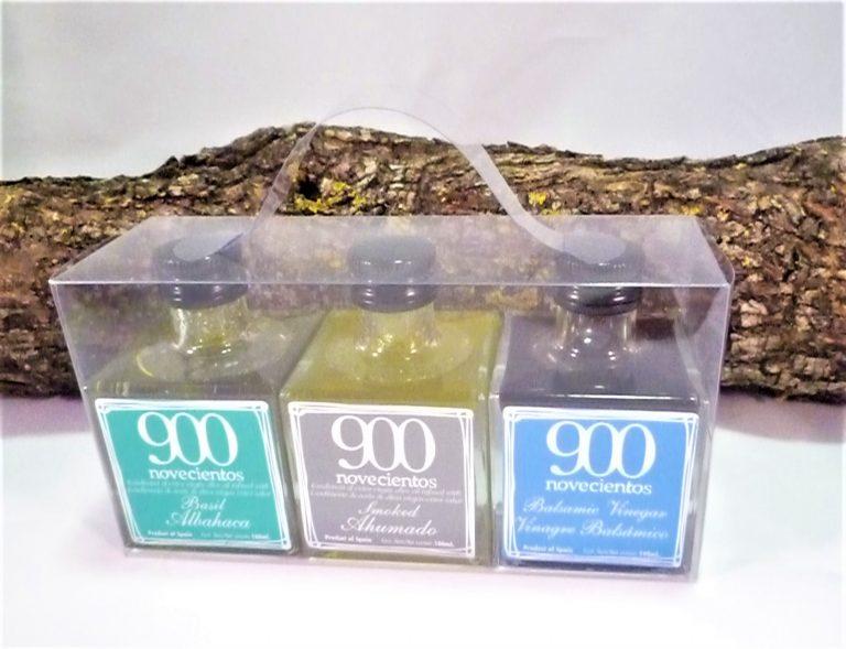 caja regalo aceites de sabores de albahaca, ahumado y vinagre balsámico 900