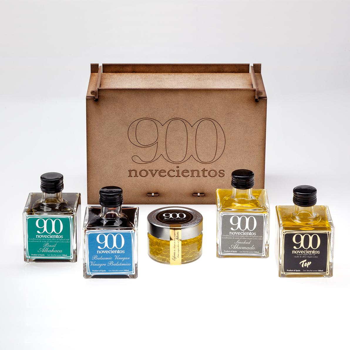 lote aceites de oliva 900 de distintas categorías, albahaca