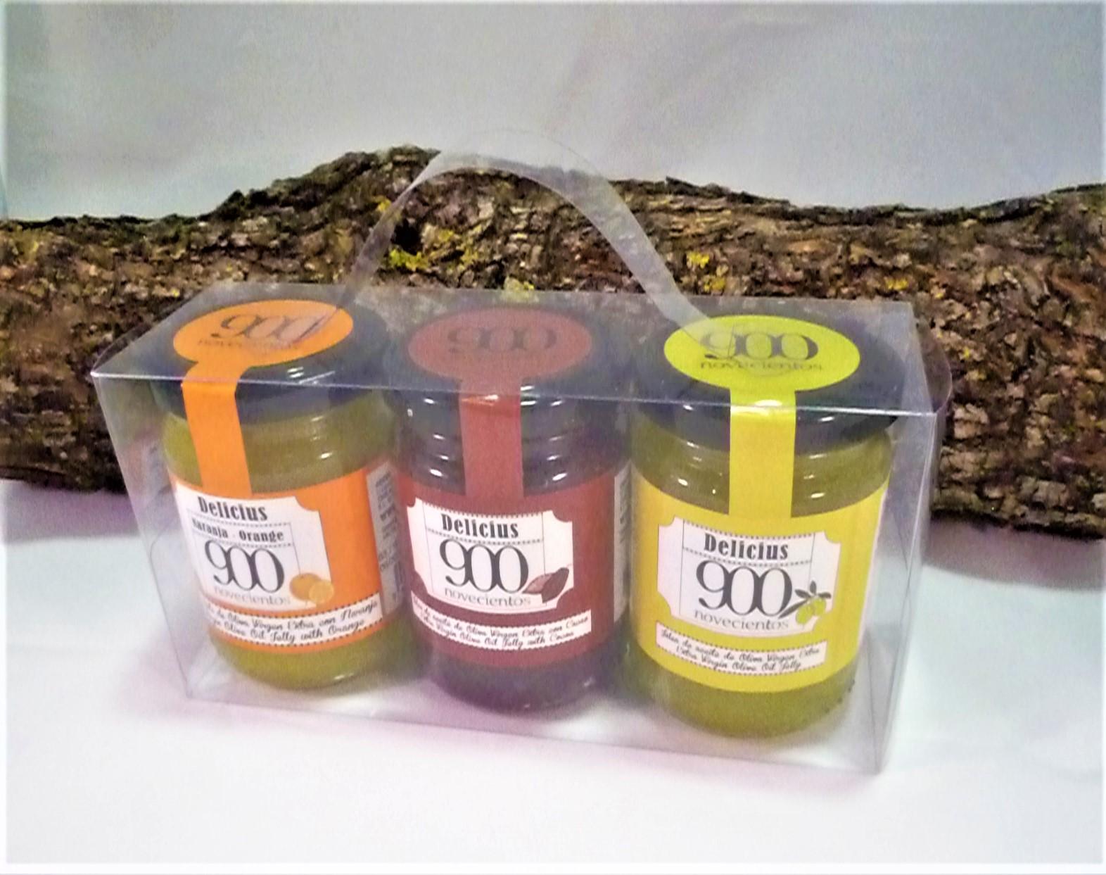 Pack regalo con mermelada de Aceite de Oliva Virgen Extra. Natural, con cacao y con naranja.