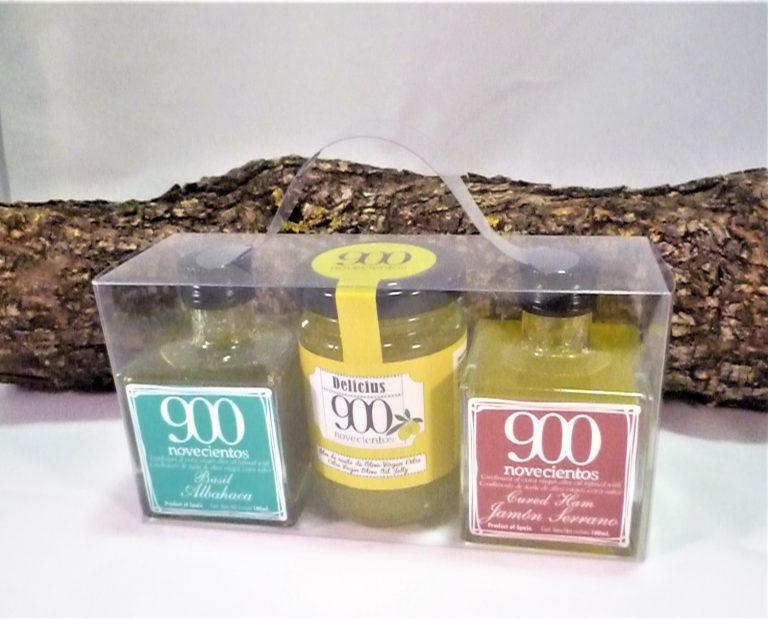 Pack regalo con una mermelada de AOVE y dos aromatizados de AOVE (jamón serrano y albahaca)