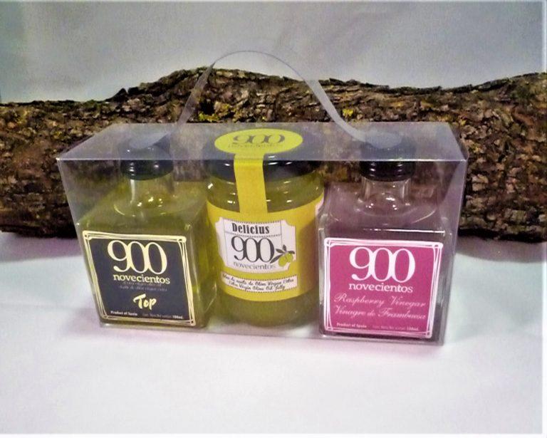 Pack regalo con AOVE premium, jalea de AOVE y vinagre de frambuesa