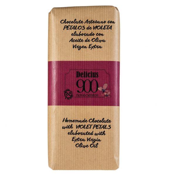 Chocolate con aceite de oliva virgen extra 900 y pétalos de violeta