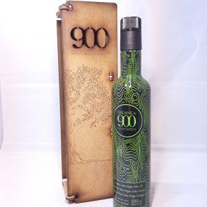Aceite de oliva virgen extra en caja de madera